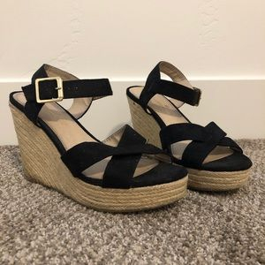 Black suede espadrille heeled sandals